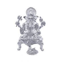 Lord Ganpati Silver Textured Idol