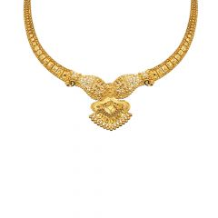 Ceremonial Textured Filigree Embossed Gold Necklace