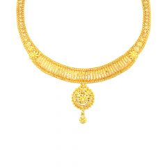 Traditional Textured Filigree Gold Necklace