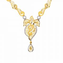 Classy Textured Rhodium Polish Cutout Leafy Gold Necklace
