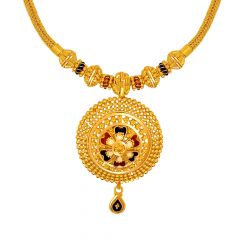 Traditional Textured Floral Enamel Gold Necklace
