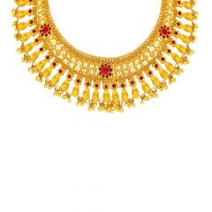 Traditional Textured Enamel Gemstone Gold Necklace