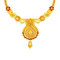 Traditional Enamel Embossed Floral Filigree Paisley Gold Necklace
