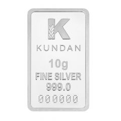 999 Purity 10 Gms Kalpataru Kundan Silver Bar