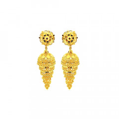 Traditional Textured Enamel Floral Yellow Gold 22kt Earring -181-JH22551