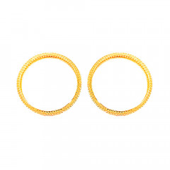 Traditional Cutout Kangan Wedding Yellow Gold 22kt Bangles (Set Of Two)  -181-KN22701