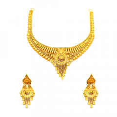 Traditional Textured Floral Wedding Yellow Gold 22kt Set -181-ST221322