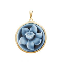 Bloom Daffodil Natural Black Agate Cameo Pendant -PNO186_B_24x24_Gold