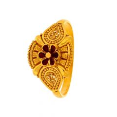 Glossy Finish Floral Design Red Enamel With Rawa Work Yellow Gold Ring