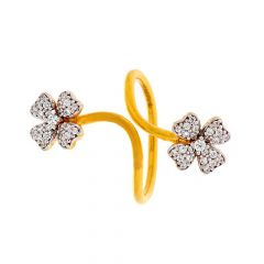 Glossy Finish Floral Design CZ Studded Yellow Gold Ring