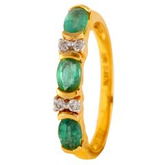Sparkling Bezel Set Emerald With Diamond Rings - 21DR352