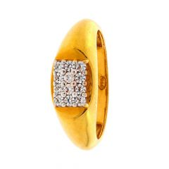 Glossy Finish Dome Shaped With CZ Studded Yellow Gold Ring