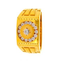 Sand Blast Broad Band Chanel Set With CZ Studded Yellow Gold Mens Ring
