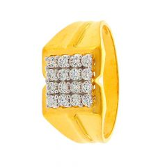 Glossy Finish Grooved Design With CZ Studded Yellow Gold Mens Ring