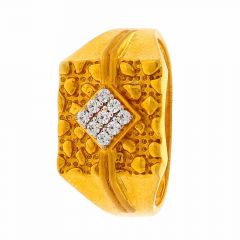 Sand Blast Broad Band CZ Studded Yellow Gold Mens Ring