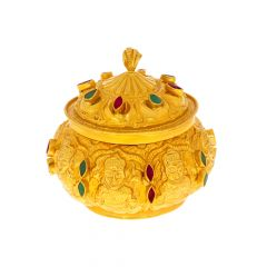 Traditional Gemstone Temple Gold Kumkum Box