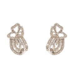 Floral Design Prong Setting Round & Baguette Cut Diamond Earrings