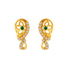 Glossy Finish Paisley Design With Multicolor CZ Studded Gold Earrings