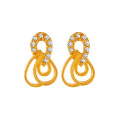 Delicate Dew Drop Design With CZ Studded Gold Earrings
