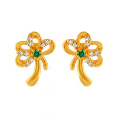 Glossy Finish Floral Design CZ Studded Gold Earrings