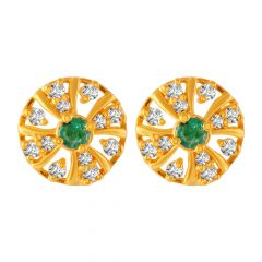 Glossy Finish Buttons CZ Studded Design Gold Earrings