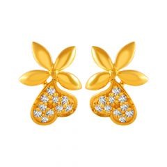 Enchanting Floral Heart Design With CZ Studded Gold Earrings