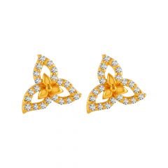 Delicate Floral Leafy Design With CZ Studded Gold Earrings