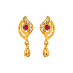 Stunning Drop Dangler Design With CZ Studded Gold Earrings