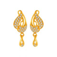 Elite Floral Dew Drop Design With CZ Studded Gold Earrings