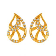Elegant Paisely Design With CZ Studded Gold Earrings