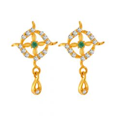 Glossy Finish Curvy Drop Design With CZ Studded Gold Earrings