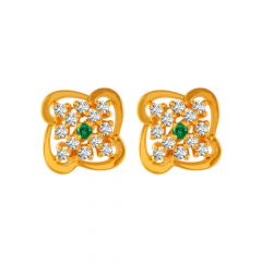Asher Cut Design Colour Stone Studded With CZ Gold Earrings