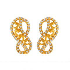 Elite Swirl Design With CZ Studded Gold Earrings