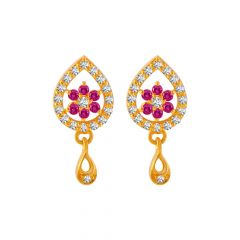 Dew Droplet Floral Design Colour Stone With CZ Studded Gold Earrings
