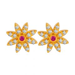 Blossom Floral Design Colour Stone With CZ Studded Gold Earrings