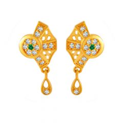 Filligree Feather Bezel Design Colour Stone With CZ Studded Gold Earrings