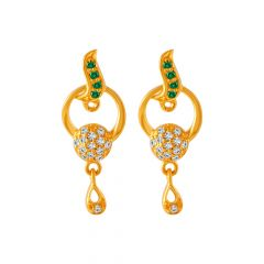 Glossy Finish Swirl Drop Color Stone With CZ Design Gold Earrings