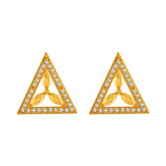 Glittering Trident Leaf Design CZ Studded Design Gold Earrings