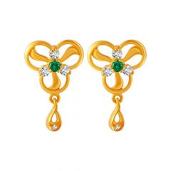 Glossy Drop Floral Design Colour Stone With CZ Studded Gold Earrings