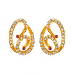 Glossy Finish Oval Curved Design CZ Studded With Synthetic Colour Stone Gold Earrings