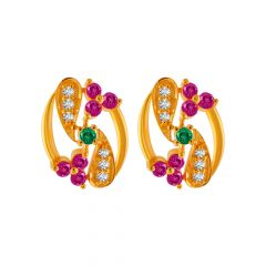 Elite Floral Leaf Design CZ With Synthetic Colour Stone Studded Gold Earrings