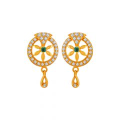 Delicate Circular Floral Drop Desig CZ With Synthetic Colour Studded Gold Earrings