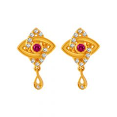 Dazel Interlink Design CZ With Synthetic Colour stone Studded Gold Earrings