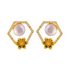 Elegant Floral Hexagon Design Synthetic Pearl With Colour Stone Studded Gold Earrings