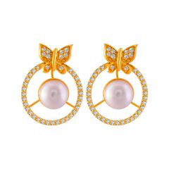 Fluttering Butterfly Snythetic Pearl With CZ Studded Gold Earrings