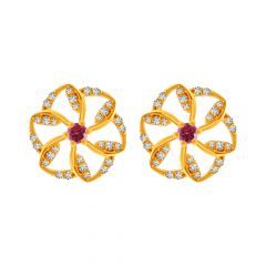 Blossom Fluer Design Colour Stone With CZ Studded Gold Earrings