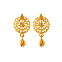 Glossy Diamond Cut Floral Design Gold Earrings