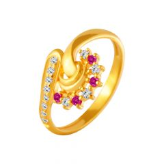 Delicate Curve Twist Gemstone CZ Gold Ring