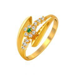 Bloom Bypass Floral Gemstone CZ Gold Ring