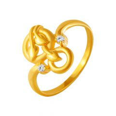 Delicate Circular Leaf CZ Gold Ring